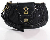 Juicy Couture Black Leather Gold Hardware Full Zipper Wristlet Handbag
