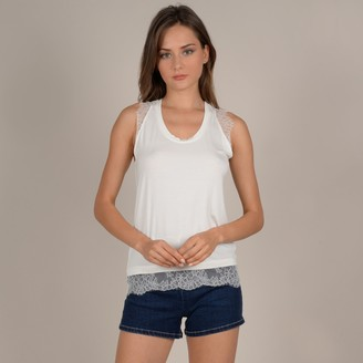 Molly Bracken Sleeveless Blouse with Lace Detail