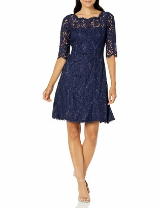 Eliza J Women's Quarter Length Sleeve Lace Fit and Flare Dress