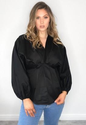 Missguided Black Poplin Long Sleeve V Neck Maternity Top