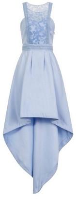 Dorothy Perkins Womens *Chi Chi London Blue Embroidered Dip Hem Skater Dress, Blue