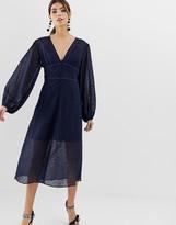 Keepsake Trouble lace midi dress with volume sleeve