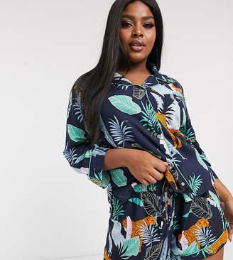 Asos DESIGN Curve botanical tiger shirt & short 100% modal pyjama-Blue