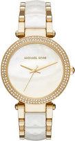 MICHAEL Michael Kors 39mm Parker Glitz Bracelet Watch, Gold/White