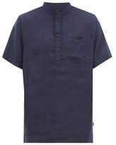 Onia - Anthony Linen Henley Shirt - Mens - Navy