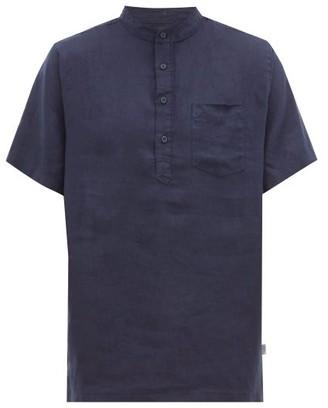 Onia Anthony Linen Henley Shirt - Mens - Navy