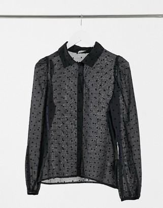 Pimkie velvet spot printed shirt in black
