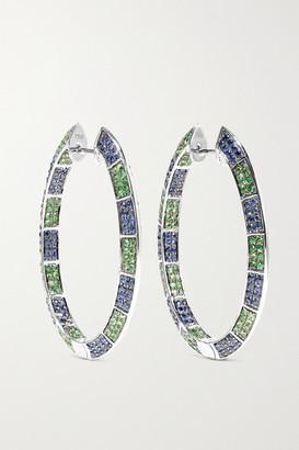 Ofira 18-karat White Gold, Sapphire And Tsavorite Earrings - one size