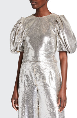 Carolina Herrera Sequined Puff-Sleeve Crop Top