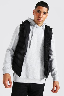 boohoo Mens Black Quilted gilet with hood, Black