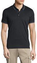 Theory Boyd Tipped Short-Sleeve Polo Shirt, Black