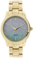 JCPenney FASHION WATCHES Womens Iridescent Dial Gold-Tone Bracelet Watch