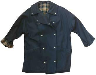 Daks London Blue Cotton Trench Coat for Women