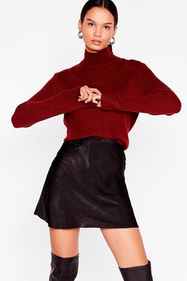 Nasty Gal Womens Knit Was Worth Knit Ribbed High Neck Sweater - Rust