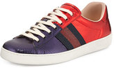 Gucci New Ace Snakeskin Low-Top Sneaker, Red/Blue
