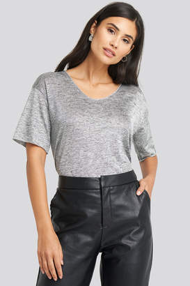 Trendyol V-Neck Loose Fit Tee Grey