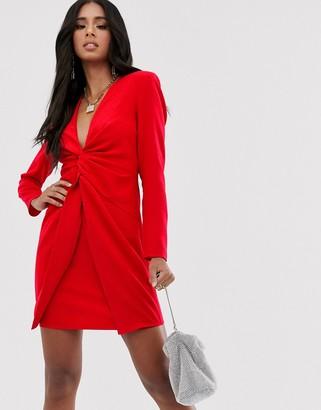 Asos Design DESIGN twist front mini dress-Red