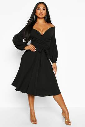 boohoo Off The Shoulder Wrap Midi Skater Dress