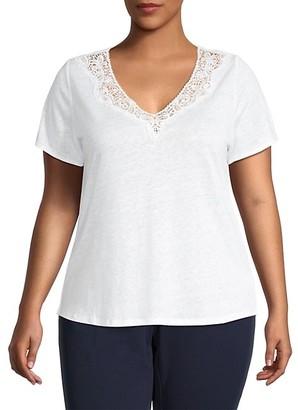 Sanctuary Plus Virginie Lace-Trim Linen T-Shirt