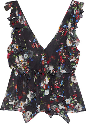 Marissa Webb Viola Ruffled Floral-print Silk-georgette Top