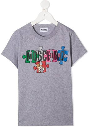 MOSCHINO BAMBINO logo puzzle-print T-shirt