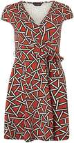 Dorothy Perkins Red Geo Wrap Dress