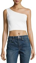 Helmut Lang One-Shoulder Cropped Stretch-Knit Bra Top, Off White