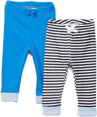 Sweet & Soft Boys' Casual Pants Blue - Blue & Black Stripe Pants Set - Infant