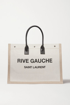 Saint Laurent Noe Leather-trimmed Printed Canvas Tote - Cream