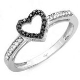 DazzlingRock Collection 0.12 Carat (ctw) 10K White Gold Black & White Diamond Ladies Promise Heart Love Engagement Two Tone Ring