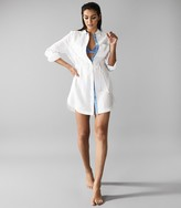Reiss SICILY LINEN SHIRT DRESS White