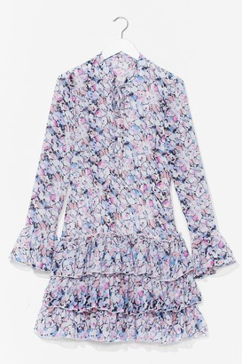 Nasty Gal Womens Floral Ruffle Skirt Smock Dress - White - S