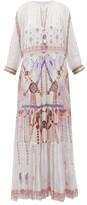 Camilla Tanami Road Split-front Tiered-hem Silk Maxi Dress - Womens - White Multi