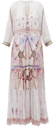 Camilla Tanami Road Split-front Tiered-hem Silk Maxi Dress - Womens - White Multi