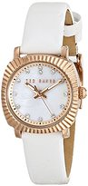 Ted Baker Women's TE2122 Mini Jewels Gold and White Leather Watch