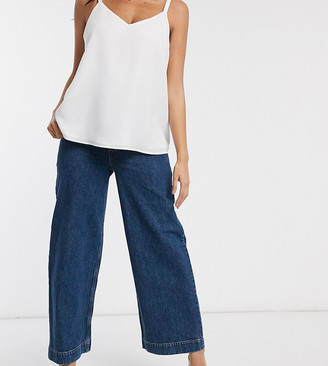 Asos DESIGN Maternity High rise 'easy' wide leg jeans in mid wash blue