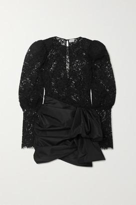 Magda Butrym Matera Panelled Lace And Gathered Taffeta Mini Dress - Black