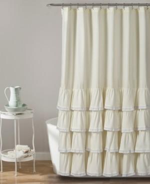 "Lush Decor Ella Lace Ruffle 72"" x 72"" Shower Curtain Bedding"