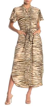 Love Stitch Zebra Print Button Front Midi Dress
