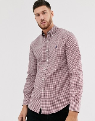 Polo Ralph Lauren slim fit stretch poplin shirt in red gingham with player logo
