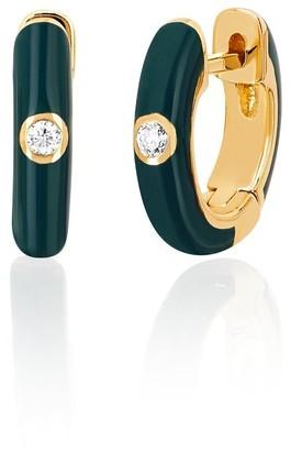 Ef Collection 14ct Yellow Gold Green Enamel Huggie Earrings