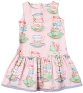 MonnaLisa Tea Cups Print Cotton Poplin Dress