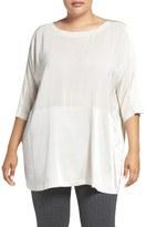 Eileen Fisher Scoop Neck Silk Crêpe de Chine Top (Plus Size)