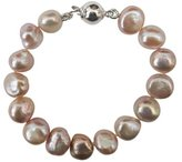 Pearls Paradise Bridesmaid Lavender/Lilac 9-10mm Baroque Cultured Pearl Bracelet With A Pretty Sterling Silver Ball Clasp, 15Cm