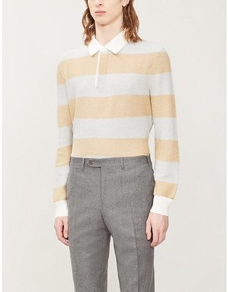 Ermenegildo Zegna Striped cotton blend polo shirt