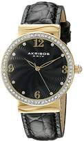 Akribos XXIV Women's AK829BKG Quartz Movement Watch with Black Dial Featuring a Crystal Filled Bezel and Leather Strap