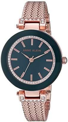 Anne Klein Women's Swarovski Crystal Accented Rose Gold-Tone Mesh Bracelet Watch
