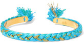 Aurelie Bidermann Copacabana Gold-plated Braided Cotton Cuff - Turquoise