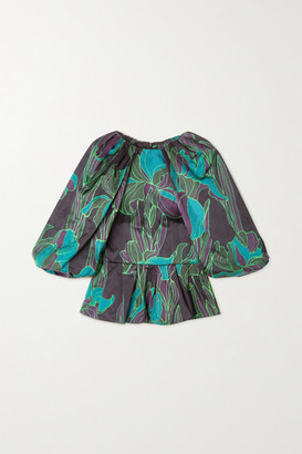 Dries Van Noten Floral-print Woven Blouse - Dark green