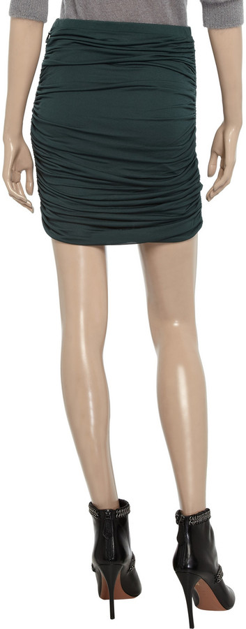 Halston Ruched stretch-jersey mini skirt